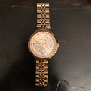 Women's rose gold all stainless steel fossil watch